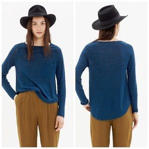 Madewell Blue Curveball Long Sleeve Linen Tee